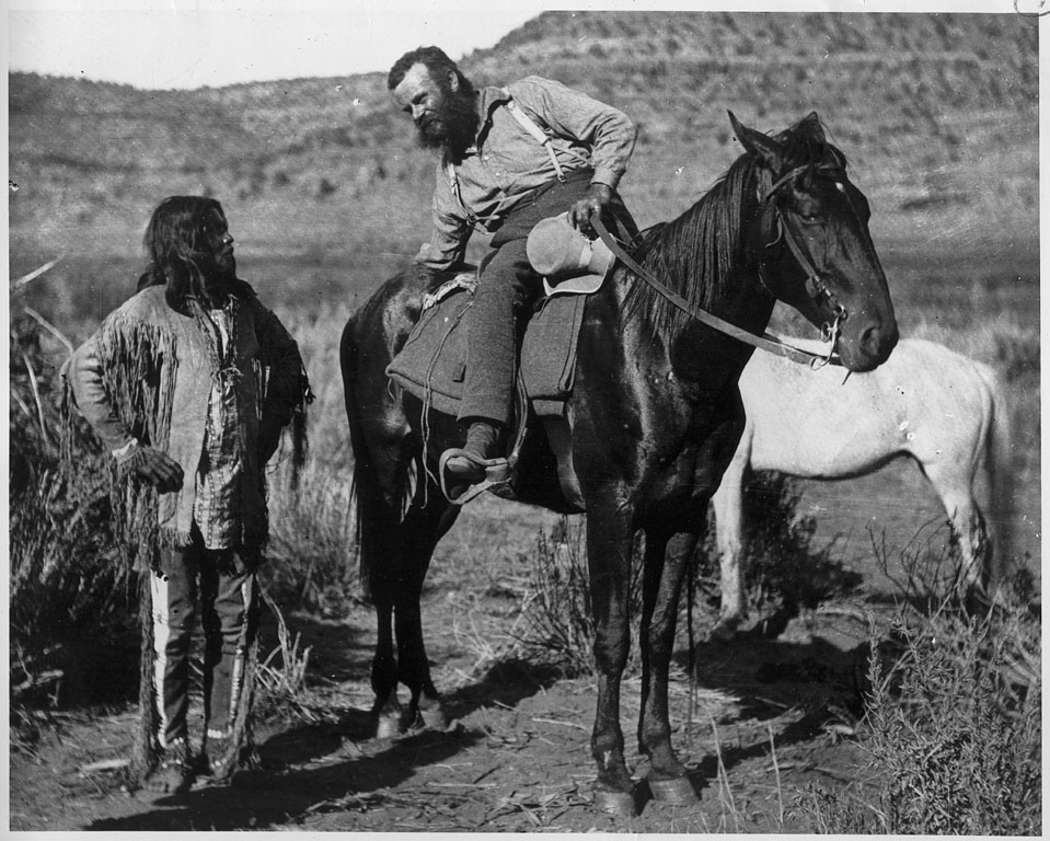 Major John Wesley Powell and a member of the Paiute tribe, 1873.