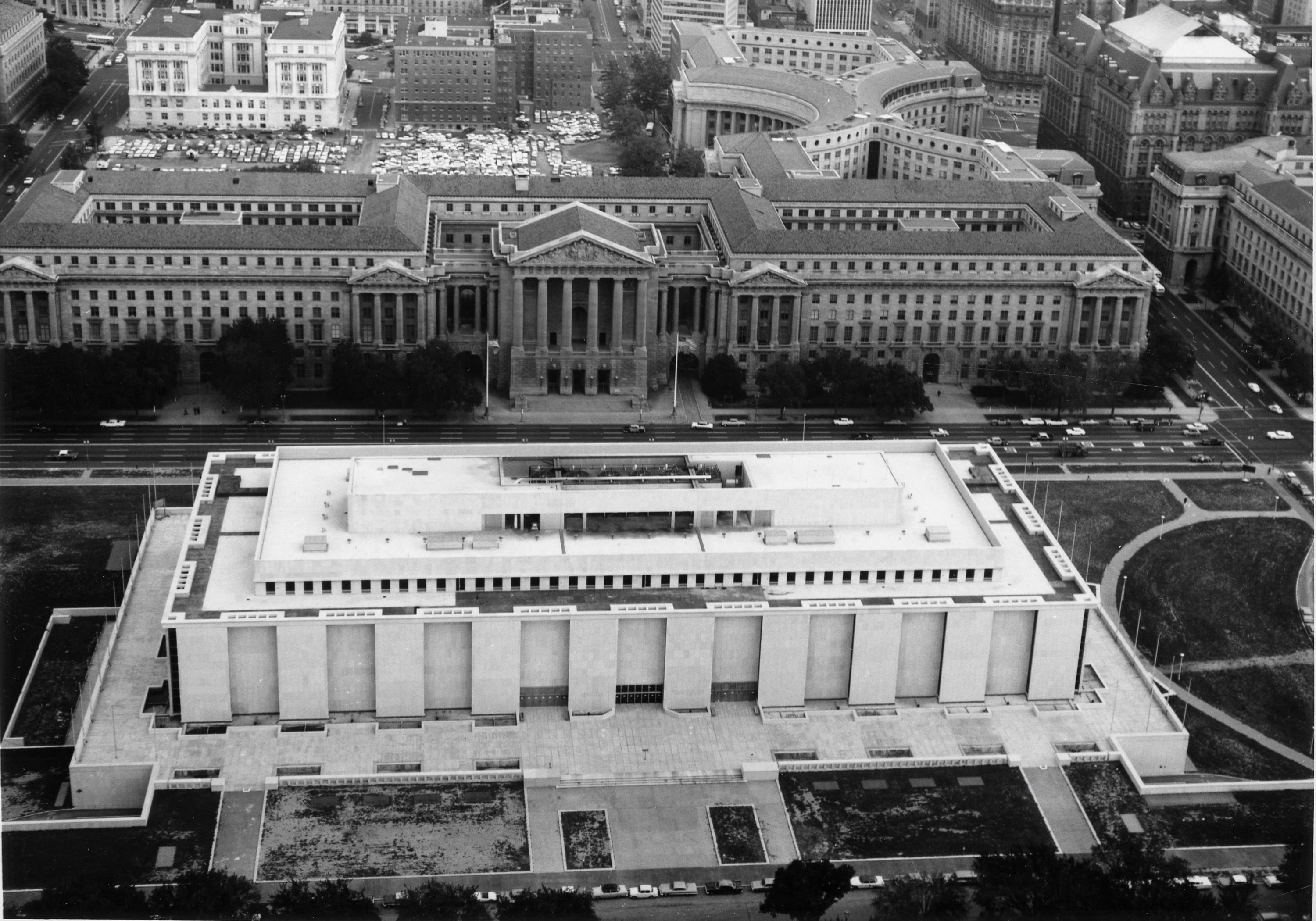 Aerial view of the construction of NMAH