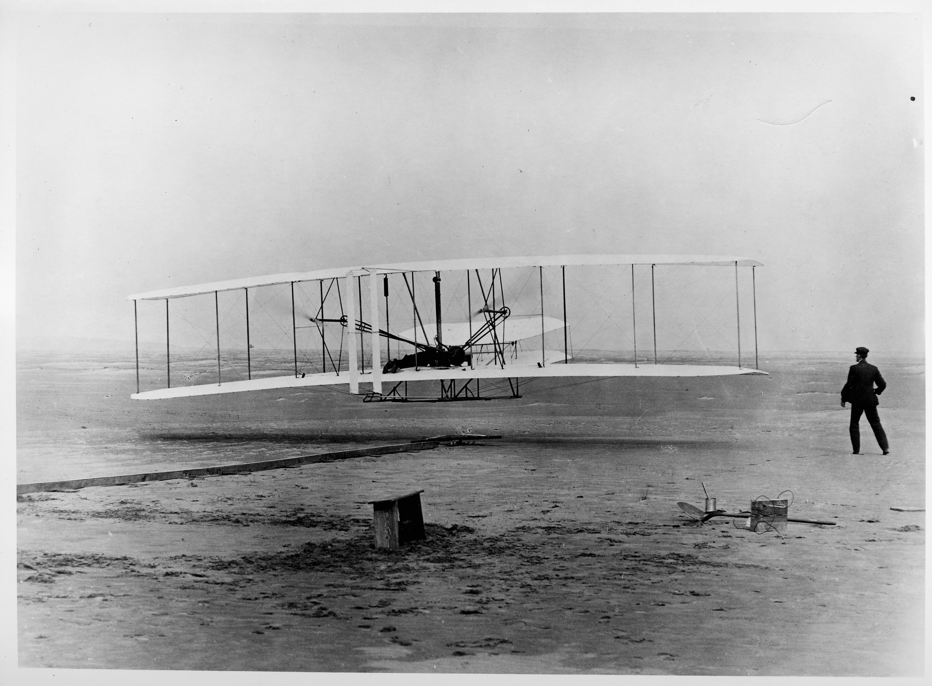 The Wright Brothers First Flight at Kitty Hawk, North Carolina.