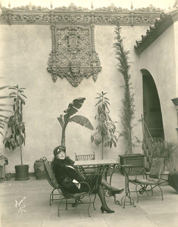 Alice Pike Barney at the Hollywood Playhouse, Paralta Studio, c. 1927.