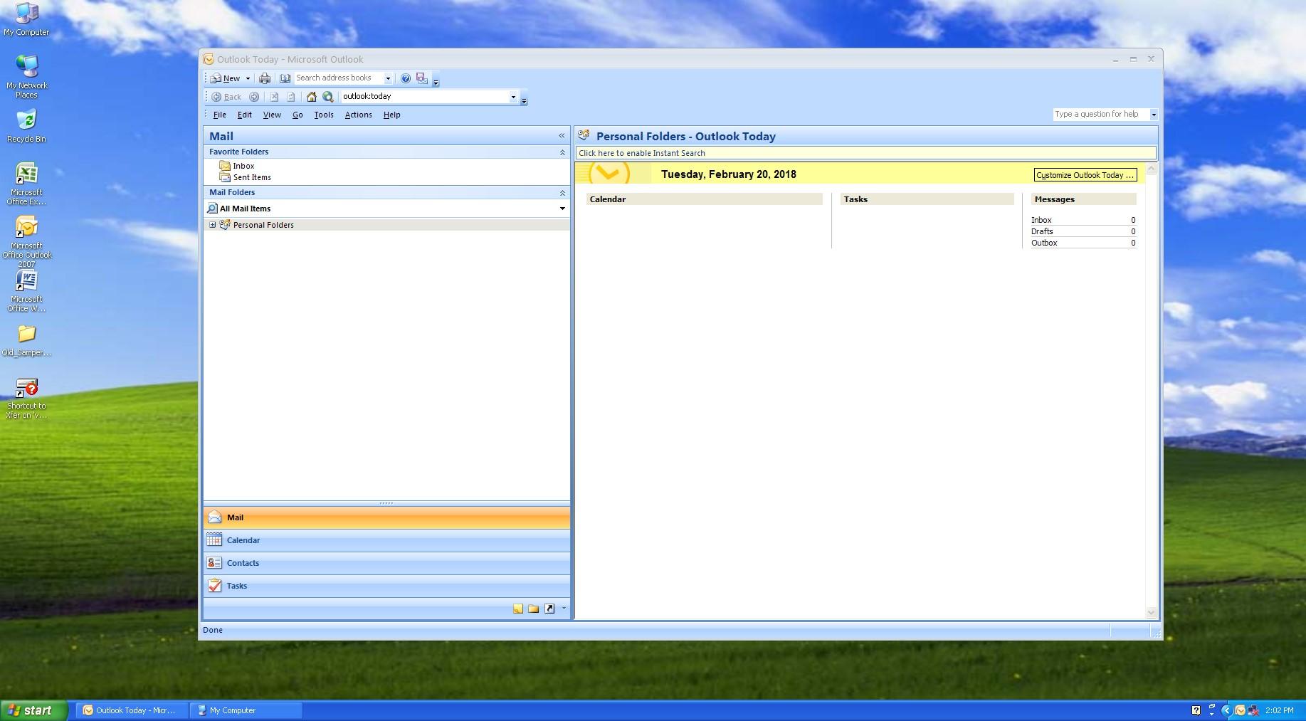 Color screenshot of a Windows XP desktop showing a Microsoft Outlook window