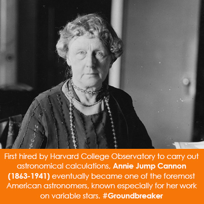 First hired by Harvard College Observatory to carry out astronomical calculations, Annie Jump Cannon