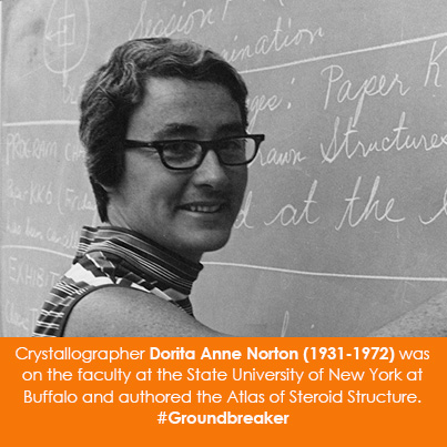 Crystallographer Dorita Anne Norton (1931-1972) was on the faculty at the State University of New Yo
