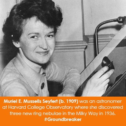 Muriel E. Mussells Seyfert (b. 1909) was an astronomer at Harvard College Observatory where she disc