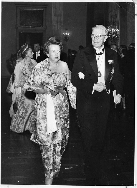 Physicist Maria Goeppert-Mayer walking in to the Nobel ceremony with King Gustaf Adolf 1963