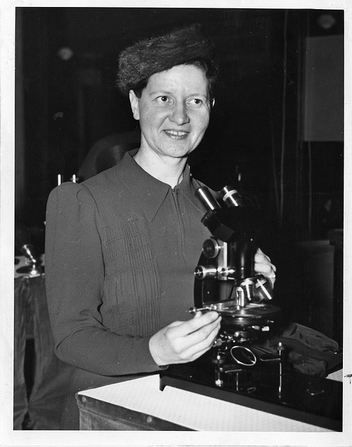 Chemist Wanda Margarite Kirkbride Farr (b. 1895] sitting in lab. She was Director of the Cellulose L