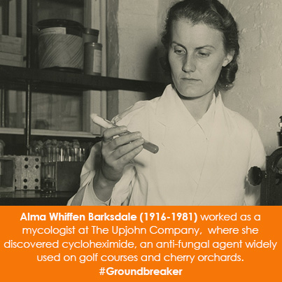 Alma Whiffen Barksdale (1916-1981) worked as a mycologist at The Upjohn Company,  where she discover