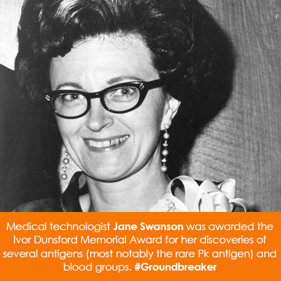 Medical technologist Jane Swanson was awarded the Ivor Dunsford Memorial Award for her discoveries o