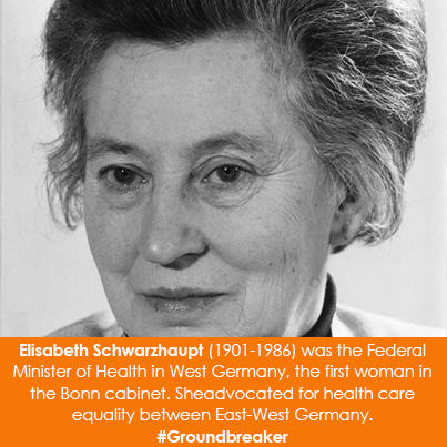 Elisabeth Schwarzhaupt (1901-1986) was the Federal Minister of Health in West Germany, 1961-1966,  f