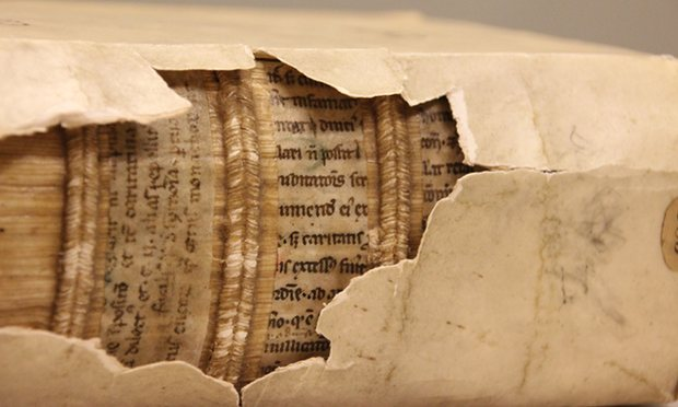 Fragments of 12th-century manuscripts used to construct a 16th-century bookbinding
