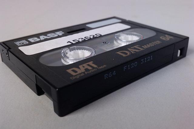 BASF DAT Digital Audio Tape, by windthoek, https://www.flickr.com/photos/windthoek/5264421688/.