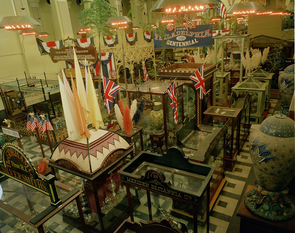 """The """"1876: A Centennial Exhibition,"""" a recreation of the Philadelphia Centennial Exhibition in 1876, in the Arts and Industries Building and opened May 10, 1976. Record Unit 95, Smithsonian Institution Archives, Neg. no. 77-3205."""