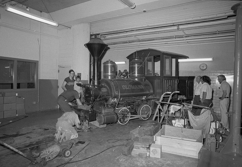 "Train engine, ""Olomana"" on loading dock at the National Museum of History and Technology (NMHT), now"