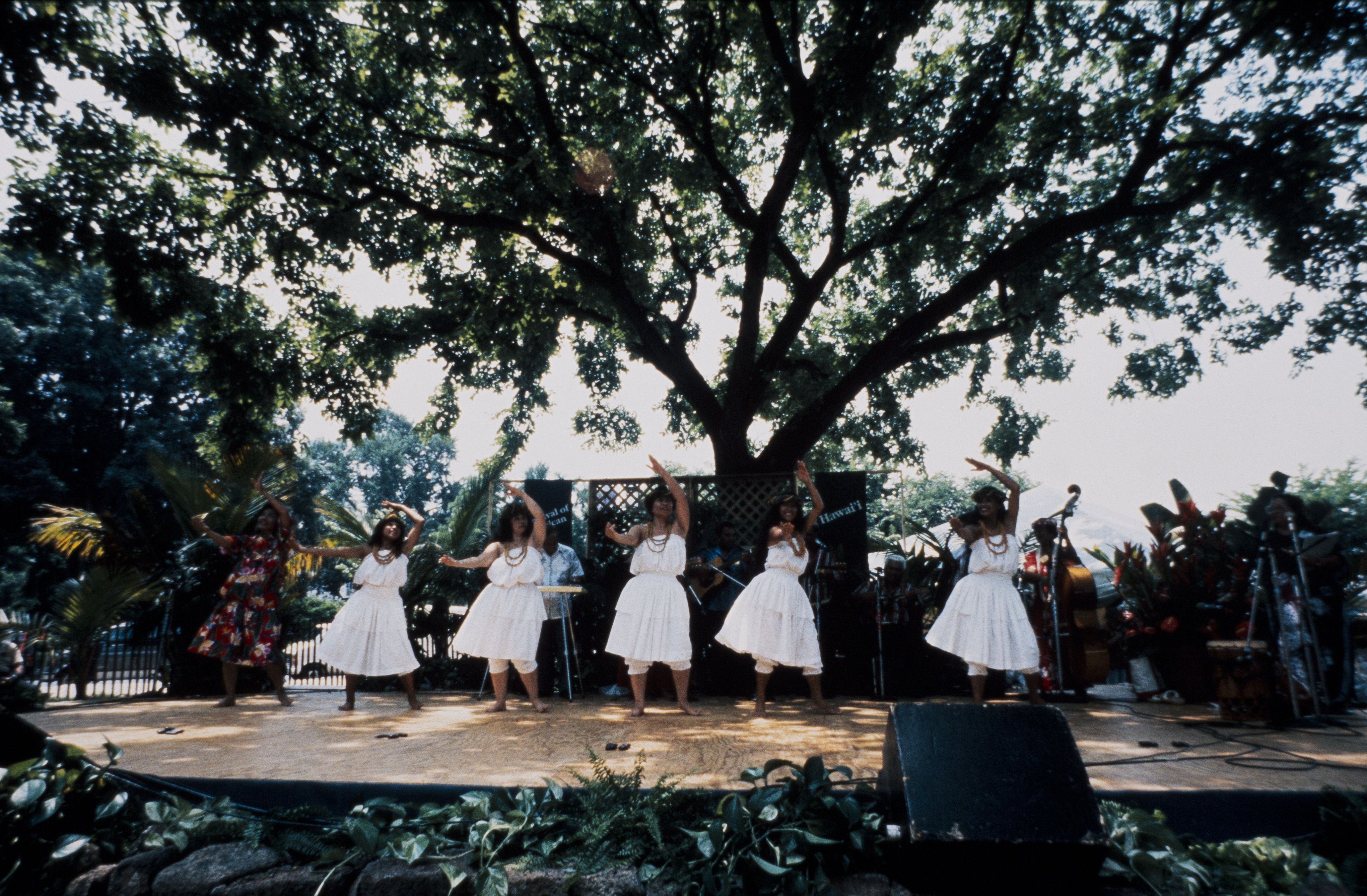 On a raised platform stage, five hula dancers in white dresses and one in a floral print dress, with