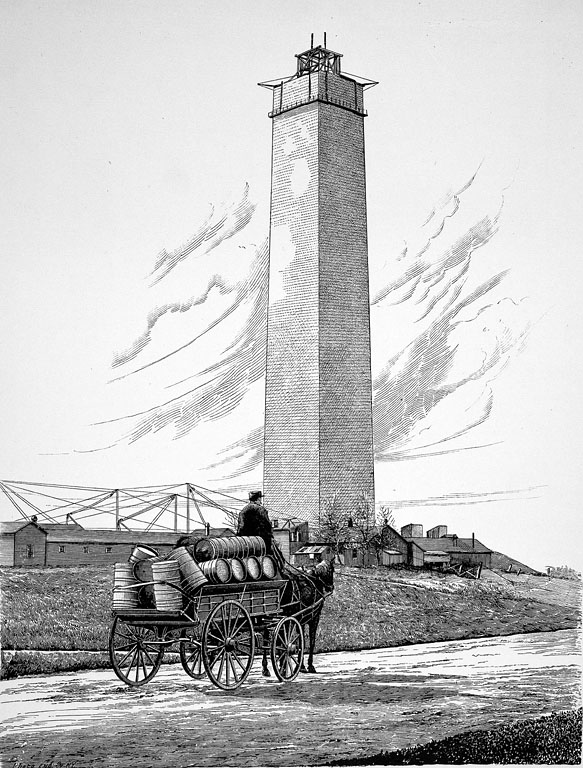 National Carp Ponds with Delivery Cart and construction of the Washington Monument in the background