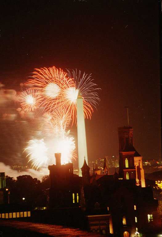 Fireworks going off behind the Washington Monument on the night of August 10, 1996 for the Smithsoni