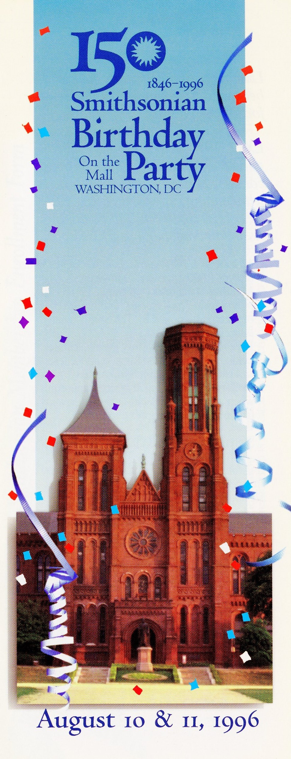 Program Cover - Smithsonian 150th Birthday Party on the National Mall, August 10-11, 1996. Image no.