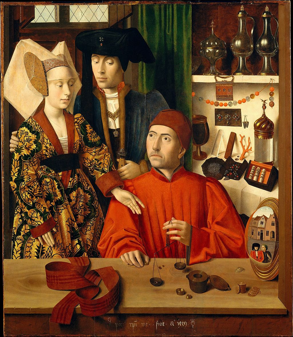 Oil painting in warms hues of goldsmith seated weighing gold with couple standing behind