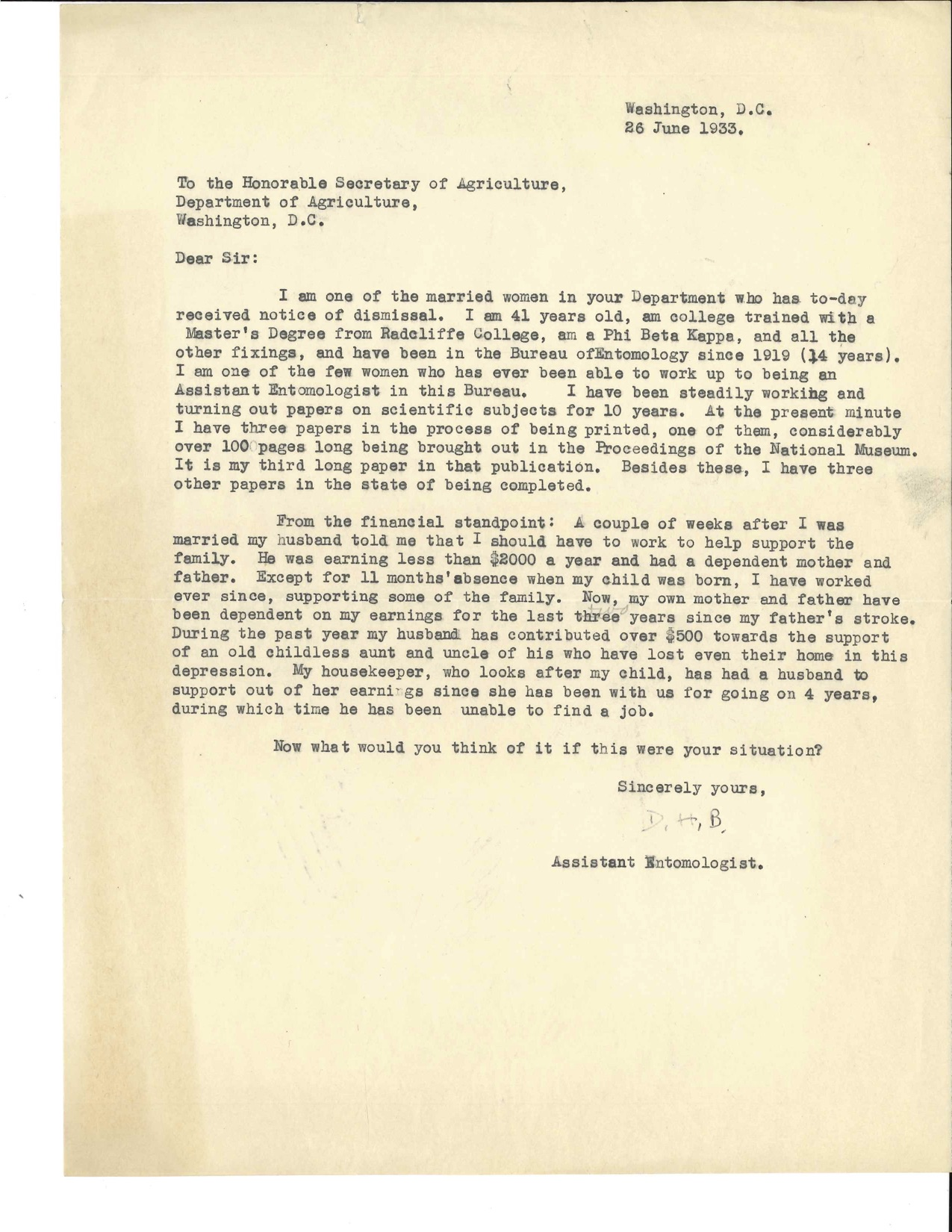 Letter dated June 26, 1933 from Doris Holmes Blake about notice of her dismissal  about her accolade