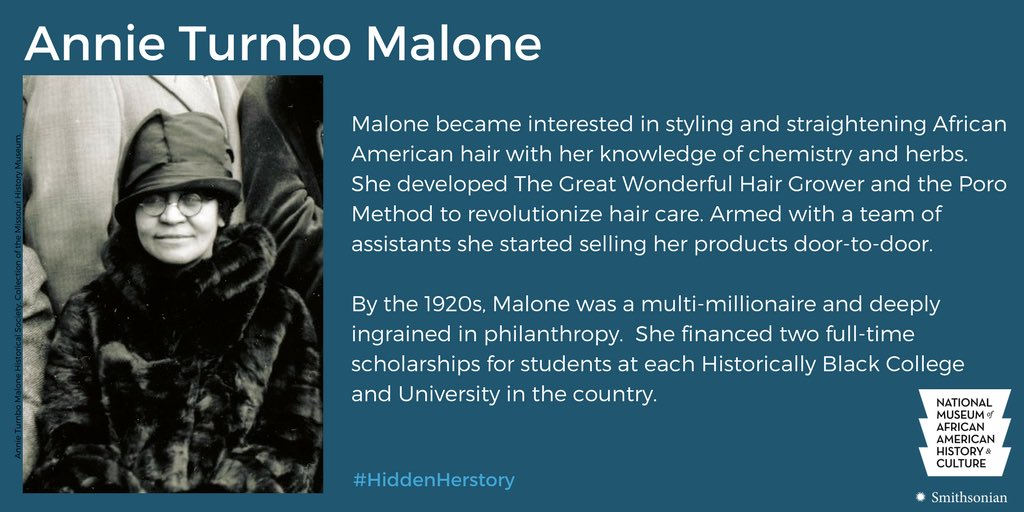 Graphic with black & white photo of Malone alongside text description of her achievements in African