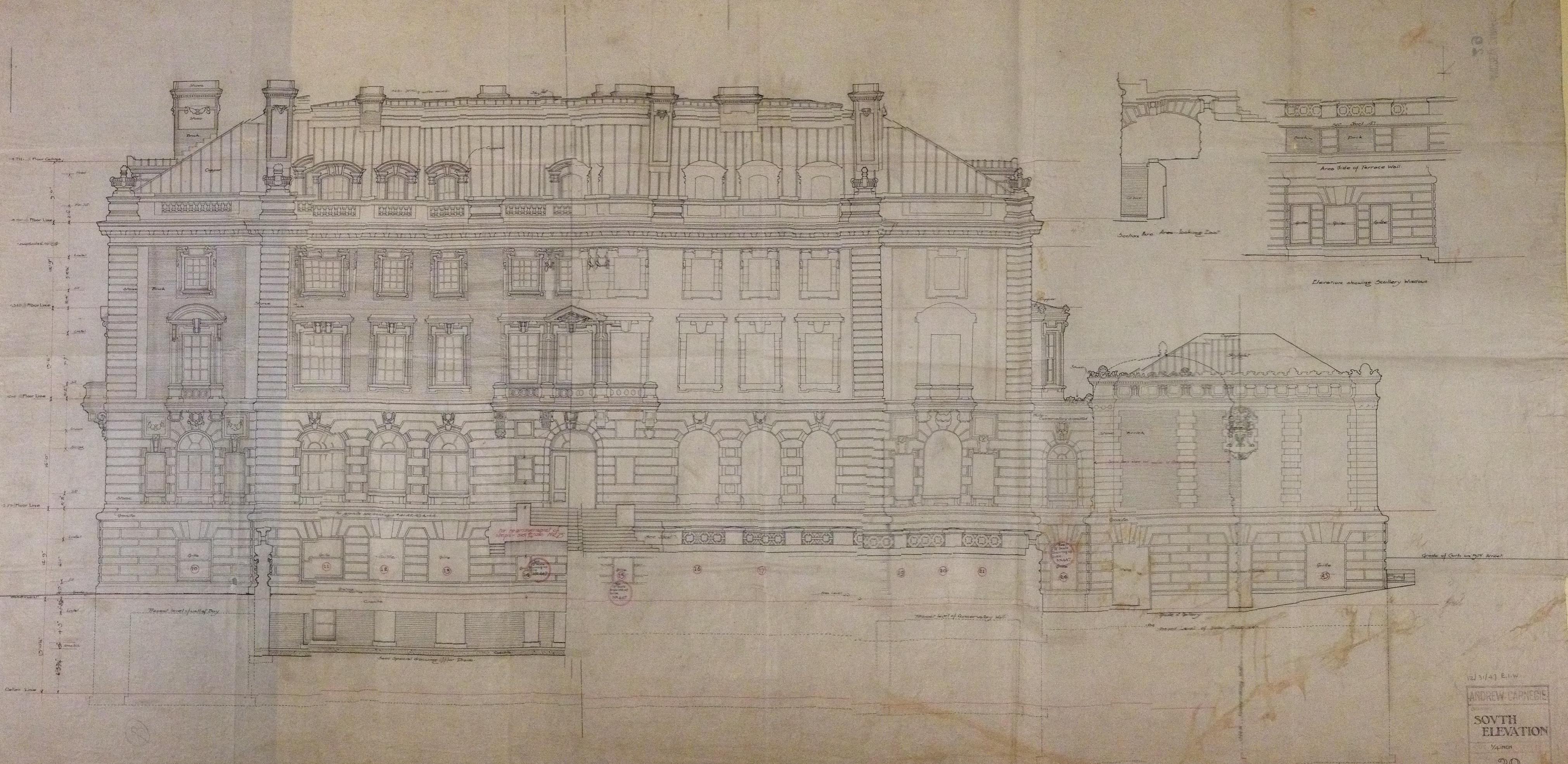 South Elevation, Carnegie Mansion.