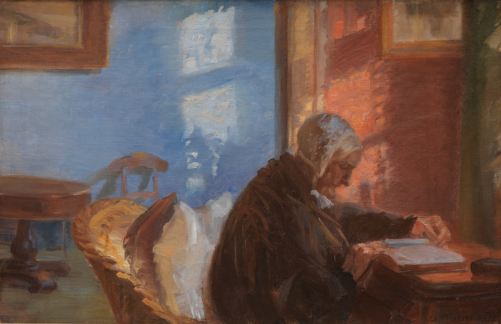 Oil painting of older woman sitting at desk reading a book next to sunlit window.