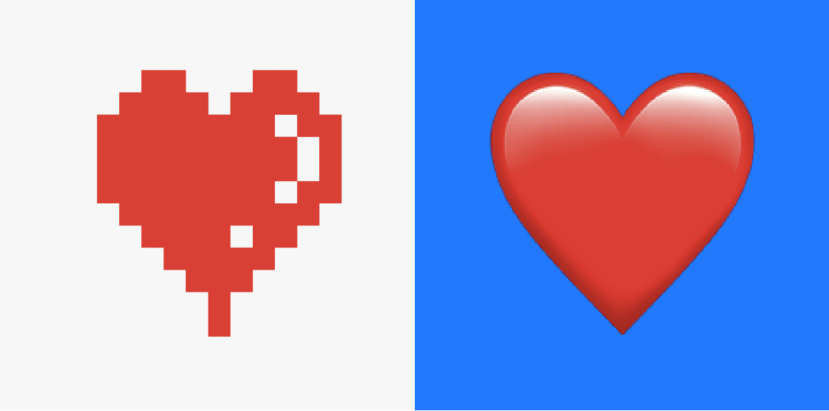 Red heart, left image is shown with pixels, right image on blue background is smooth and contemporar