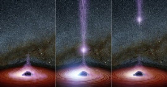 a progression of 3 images of a brightly lit, round field of light with a dark hole in the middle and
