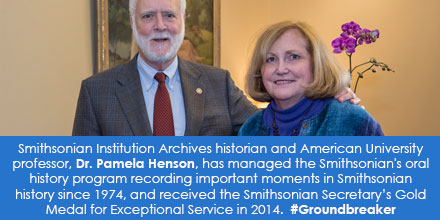Color photo of former Smithsonian Secretary G. Wayne Clough and Pamela Henson receiving award.