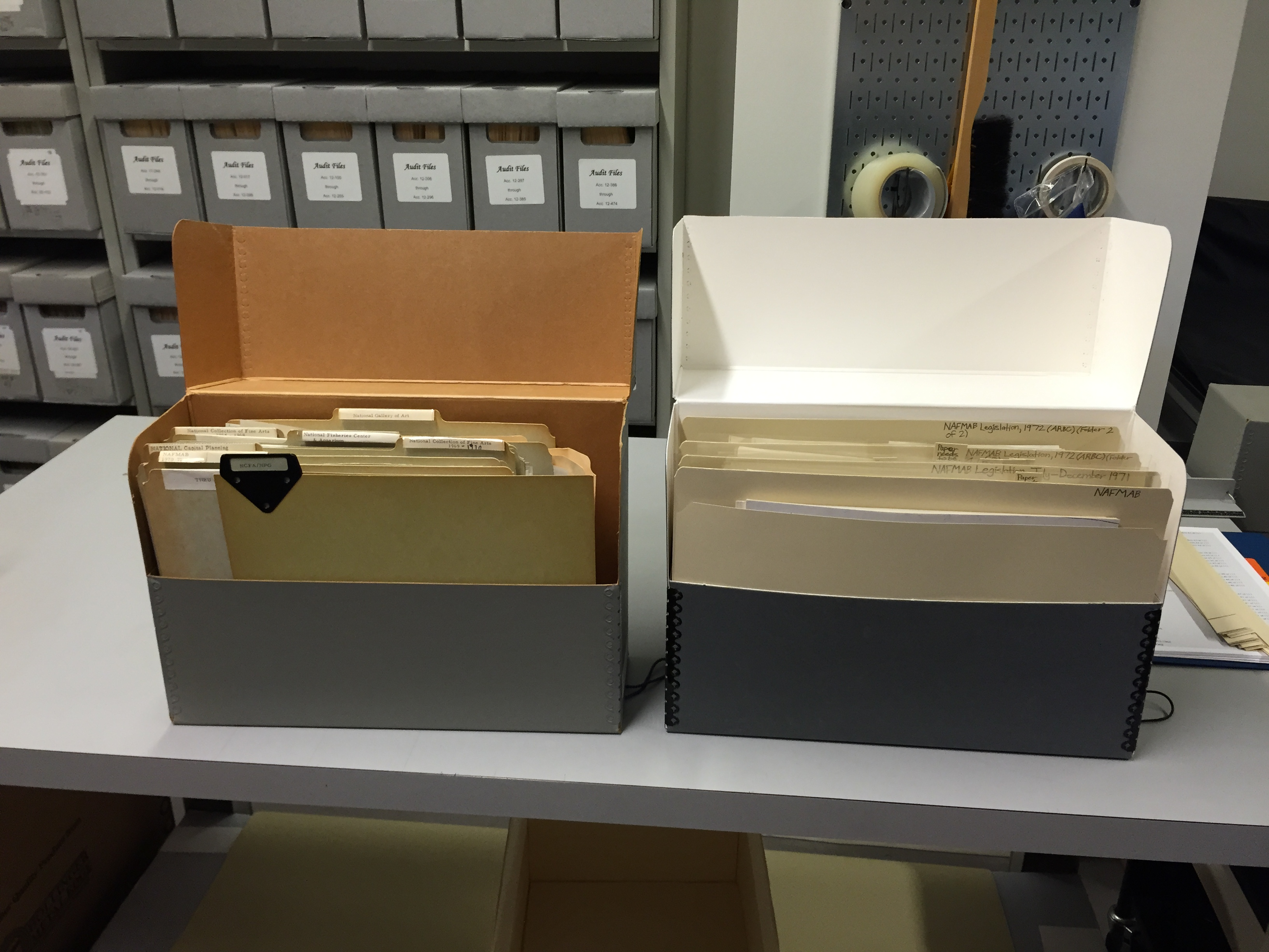 Side-by-side comparison of an old box at left, with visible deterioration and wrong-size folders, and a new box, with pristine housing materials fitted to the box dimensions.