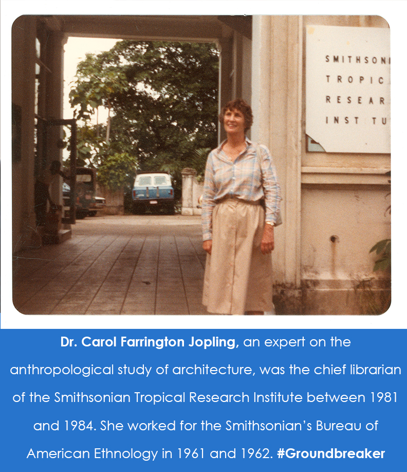 Photograph of Jopling standing outside of the library in Panama.