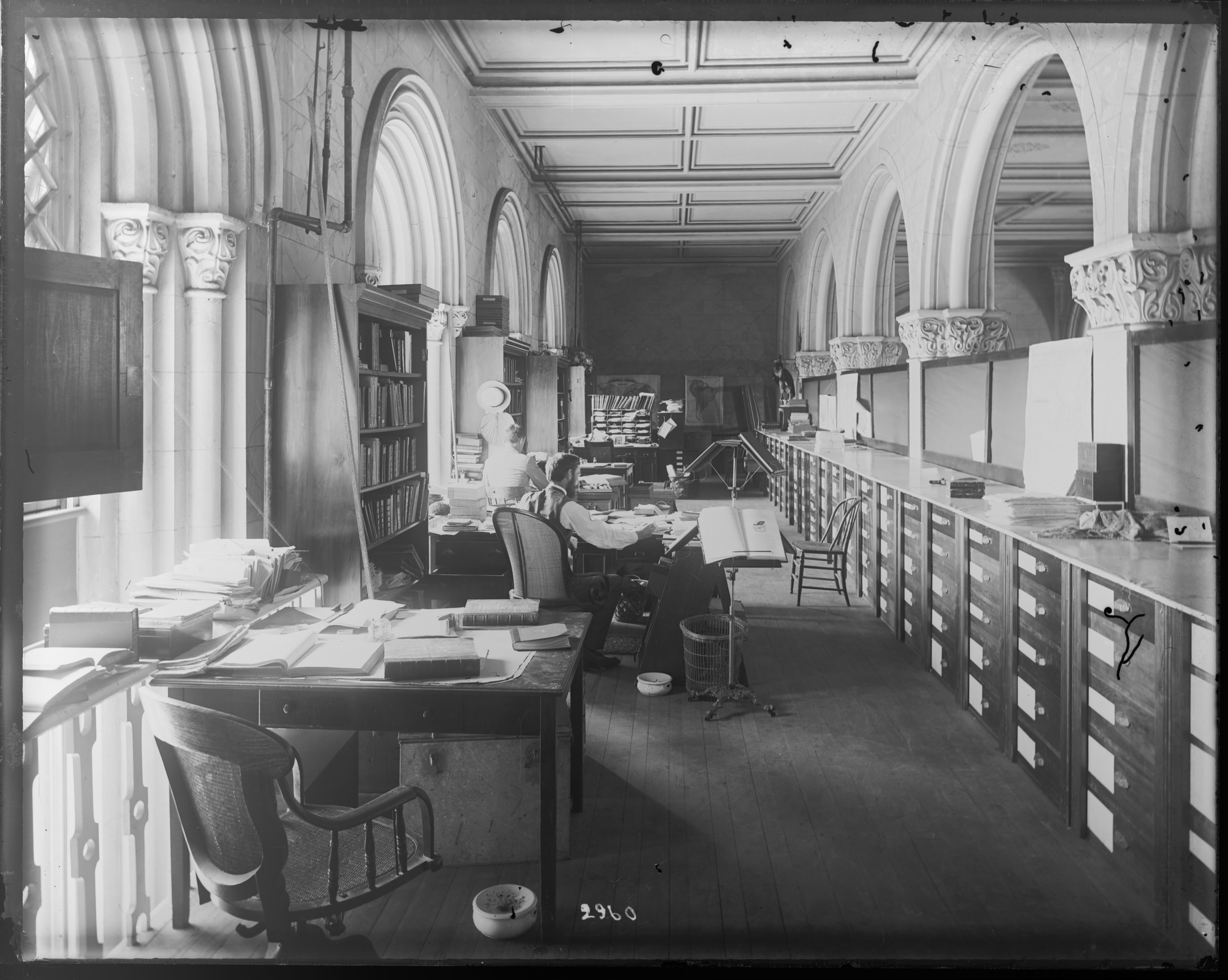 Department of Birds Work Area in the Castle, 1880s; Glass negative