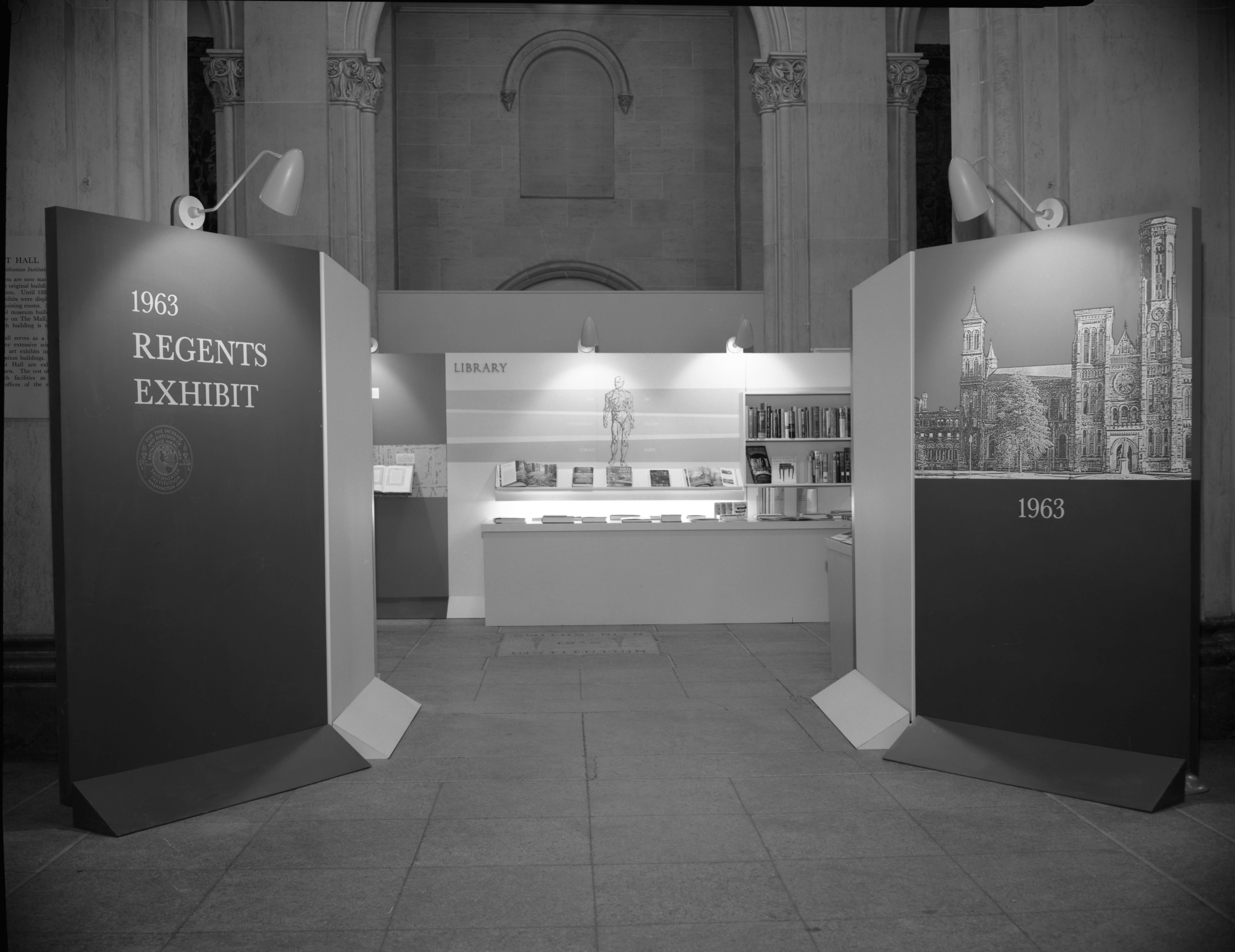 Regents Exhibit display, 1963, black and white negative.