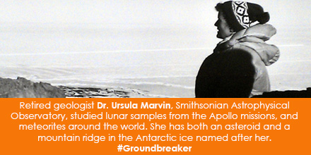 Retired geologist Dr. Ursula B. Marvin, Smithsonian Astrophysical Observatory, studied lunar samples