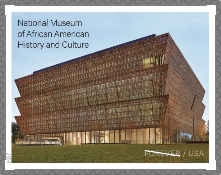 "Stamp with ""National Museum of African American History and Culture"" text and museum building in the"