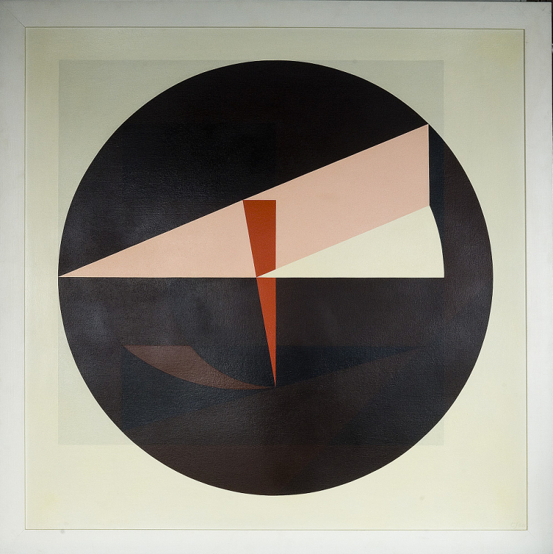 Painting on a square canvas with a large black circle in the center with various triangular shapes i