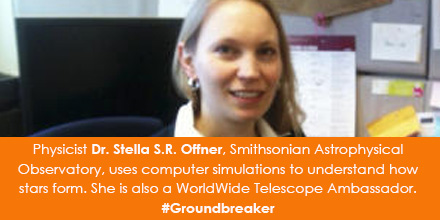 Physicist Dr. Stella S.R. Offner, Smithsonian Astrophysical Observatory, uses computer simulations t