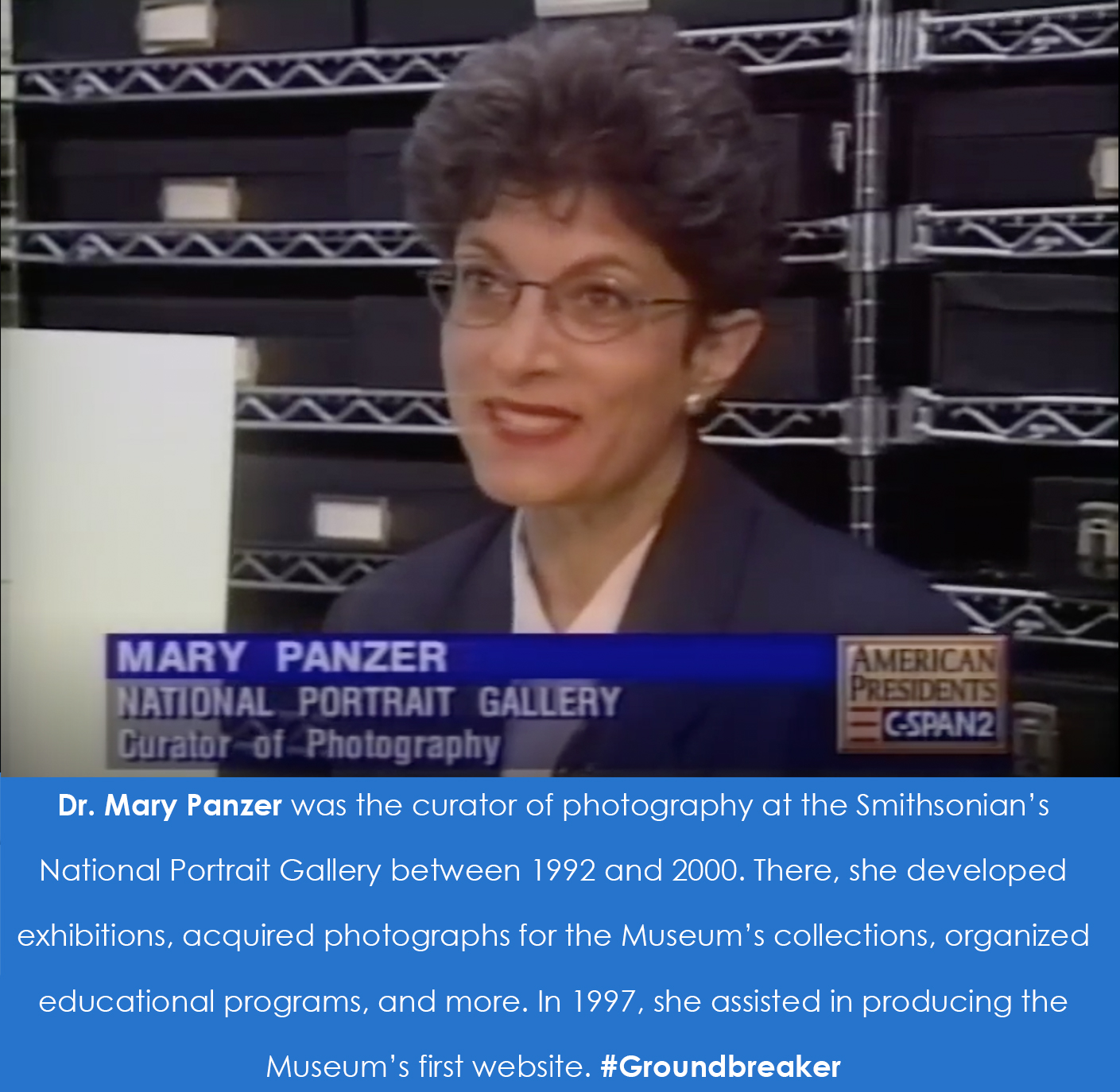 Screenshot of Panzer on C-SPAN when she was a curator at the National Portrait Gallery.