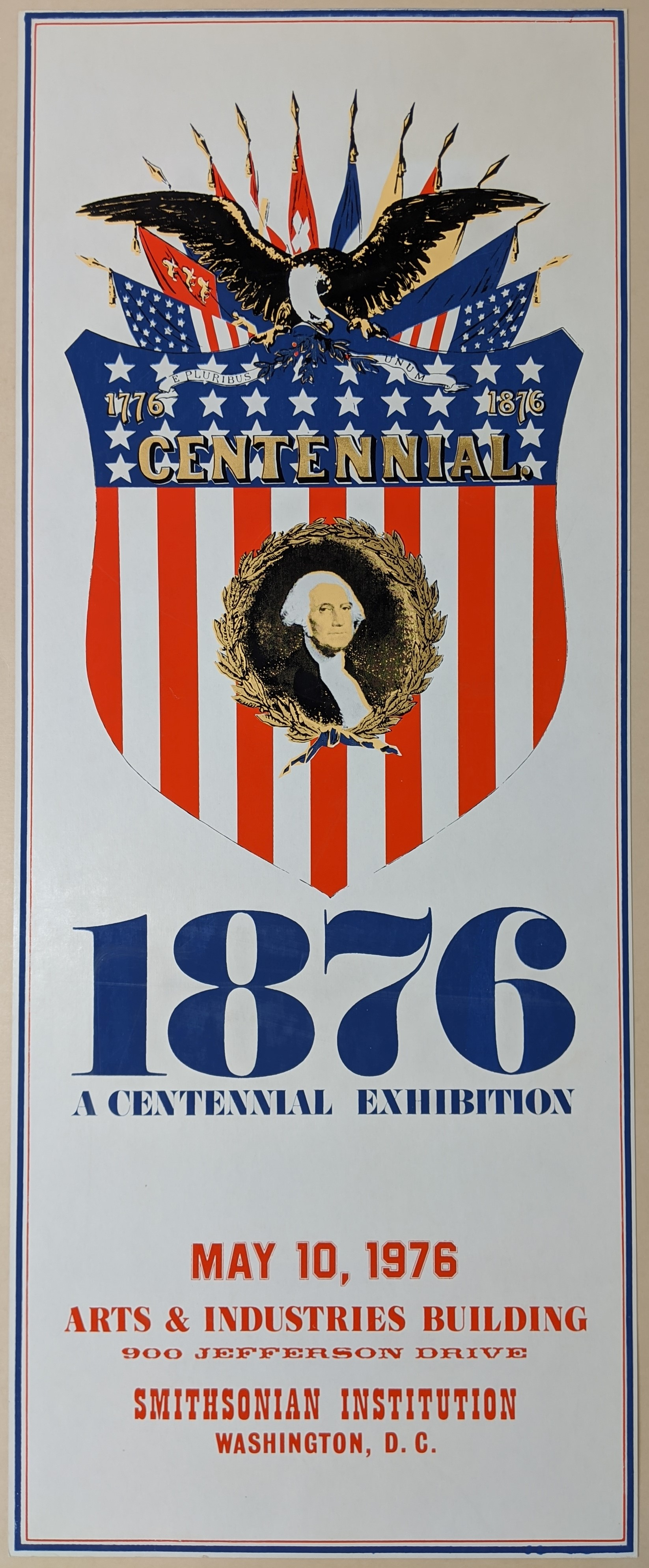 Poster with white background, portrait of George Washington on a United States flag shield, and a ba