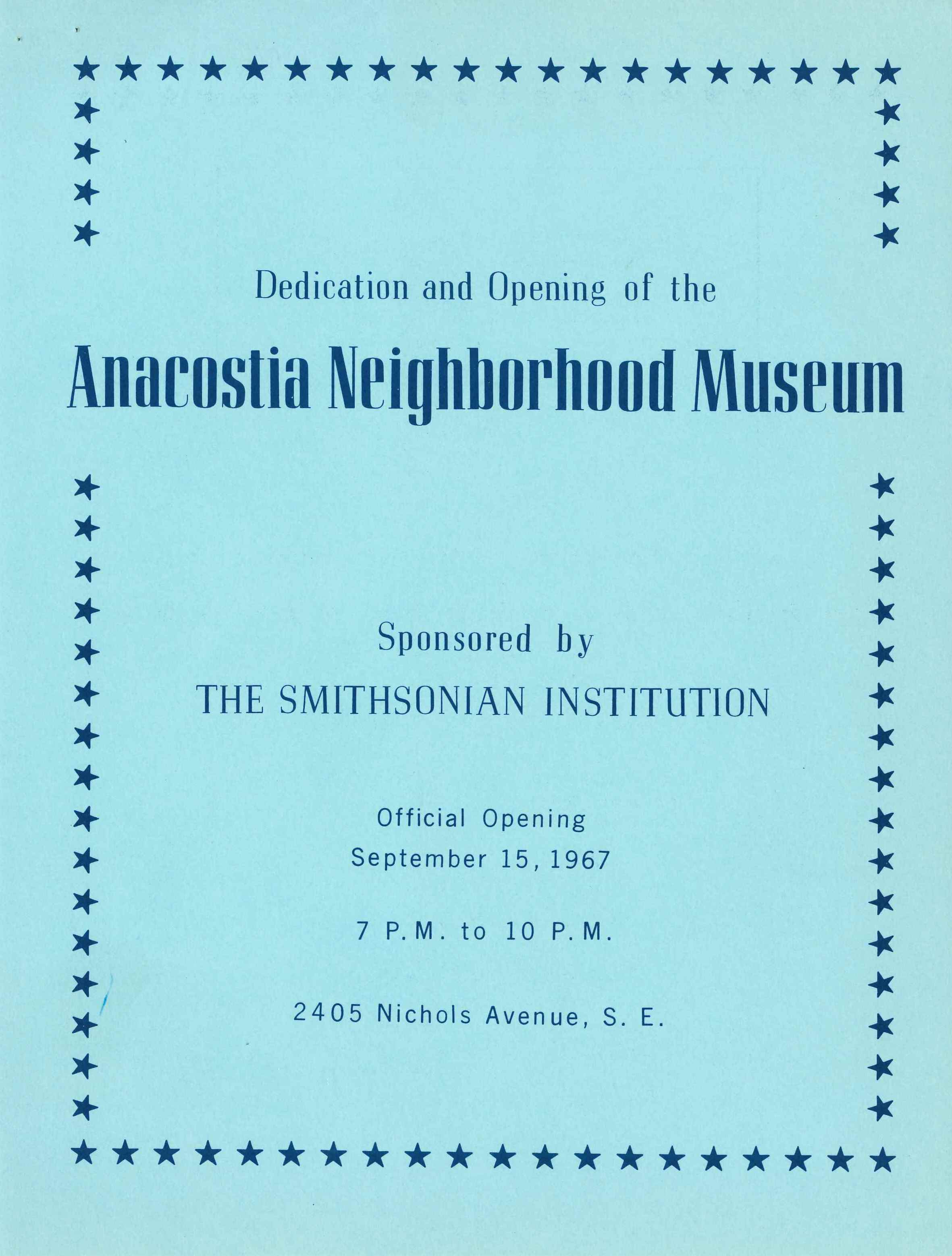 Program for the opening of the Anacostia Neighborhood Museum on September 15, 1967.