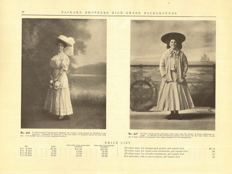 A yellow-tinted catalog page showing two women in front of painted backgrounds, one of a nature scen