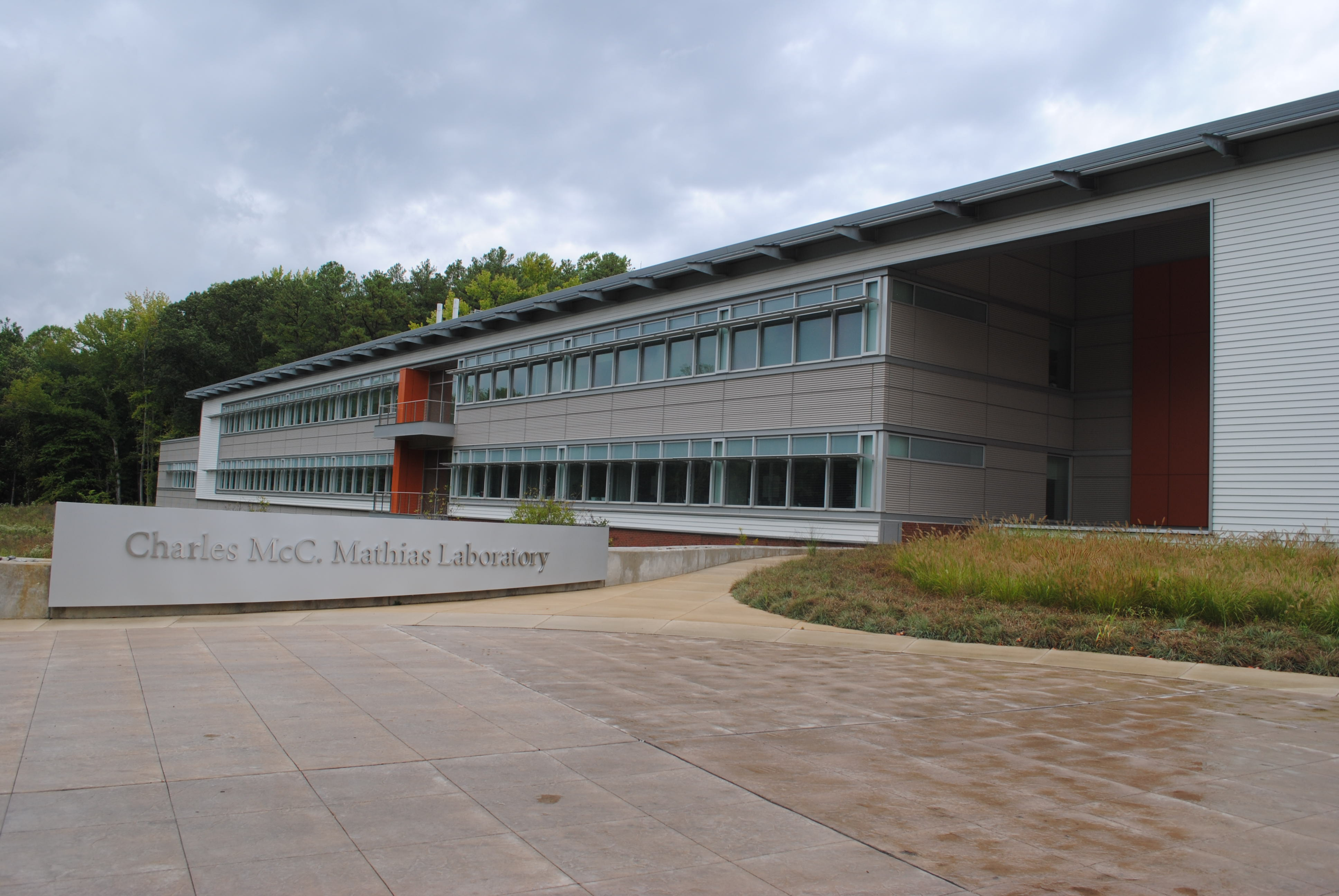 The Charles McC. Mathias Laboratory. Behind the sign is a series of cascading wetland pools containing native plants. Photo by Kira Sobers, September 12, 2015.