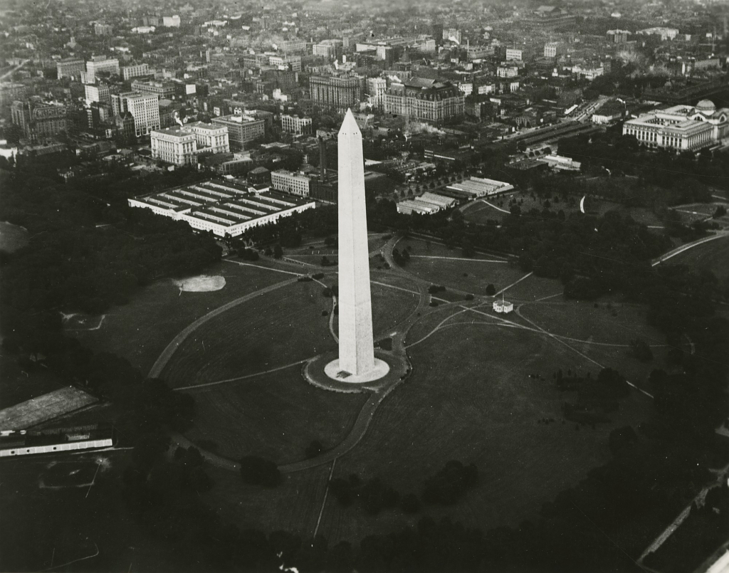 Aerial View of Washington Monument Showing Temporary World War II Federal Buildings Prior to Museum
