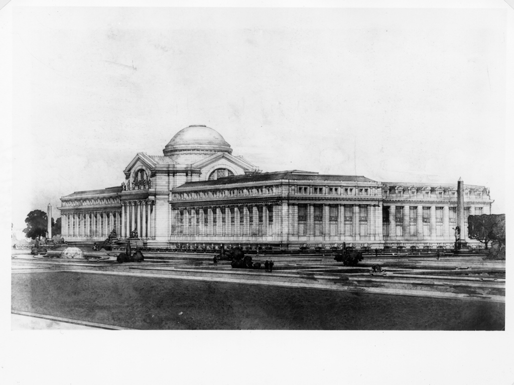 Drawing of the U. S. National Museum, South Front and Surroundings