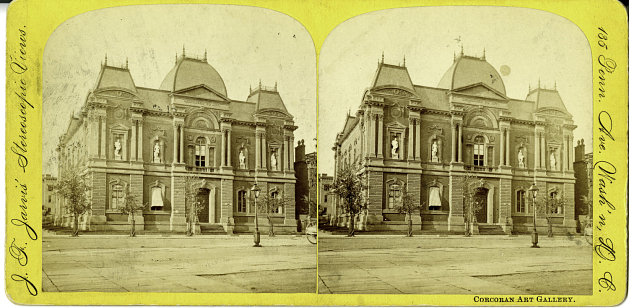 Stereoscopic view of the exterior of the Renwick Gallery, c. 1880s, by J. F. Jarvis.