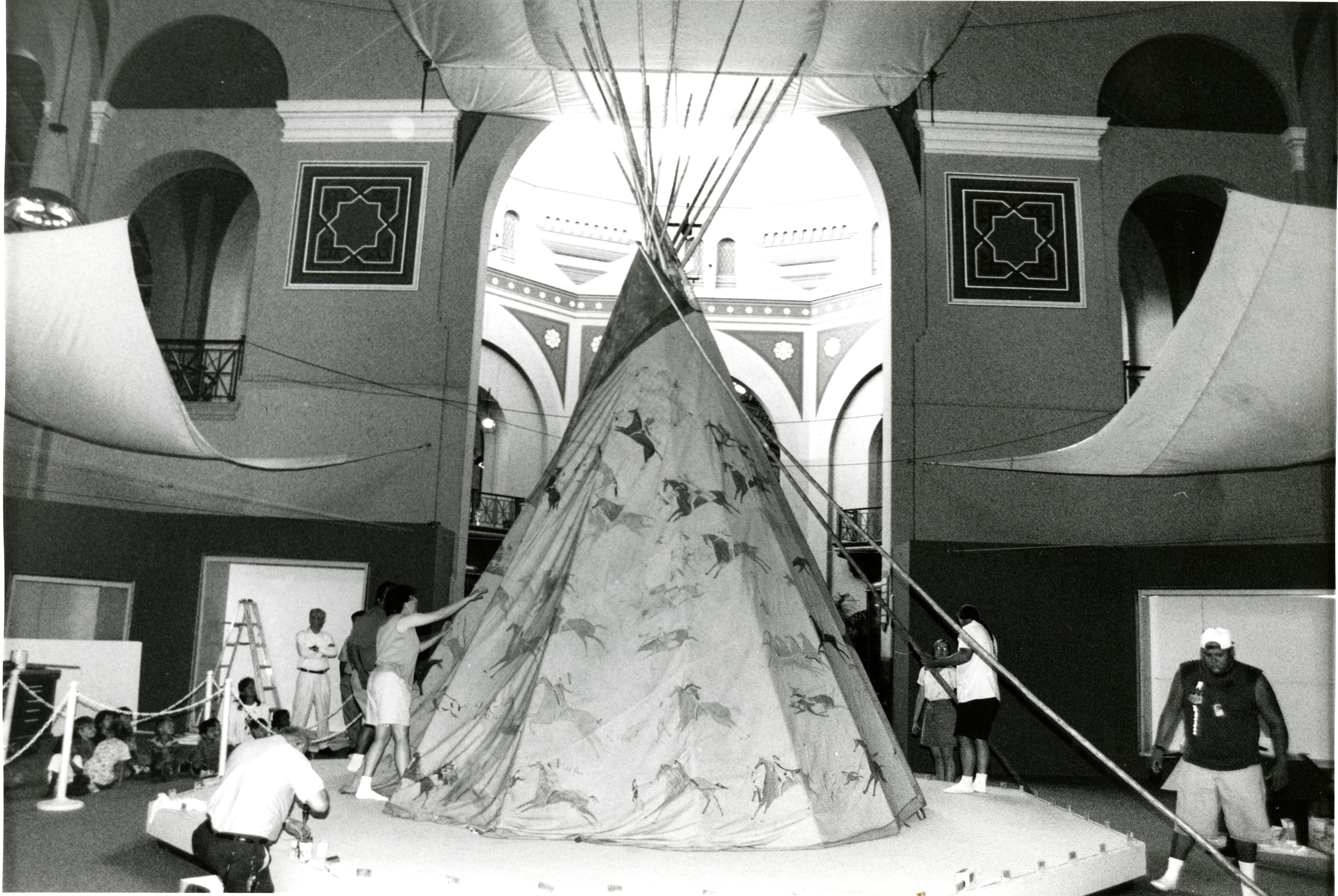 Installation of Dakota Tepee, Arts and Industries Building, 1996. Accession 01-081, Smithsonian Institution Archives, Neg. no. SIA2011-2389.