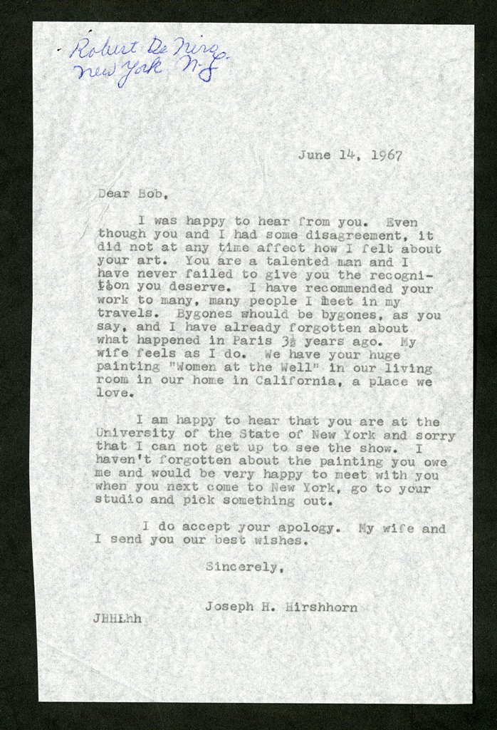 June 14, 1967, letter, Hirshhorn to De Niro.