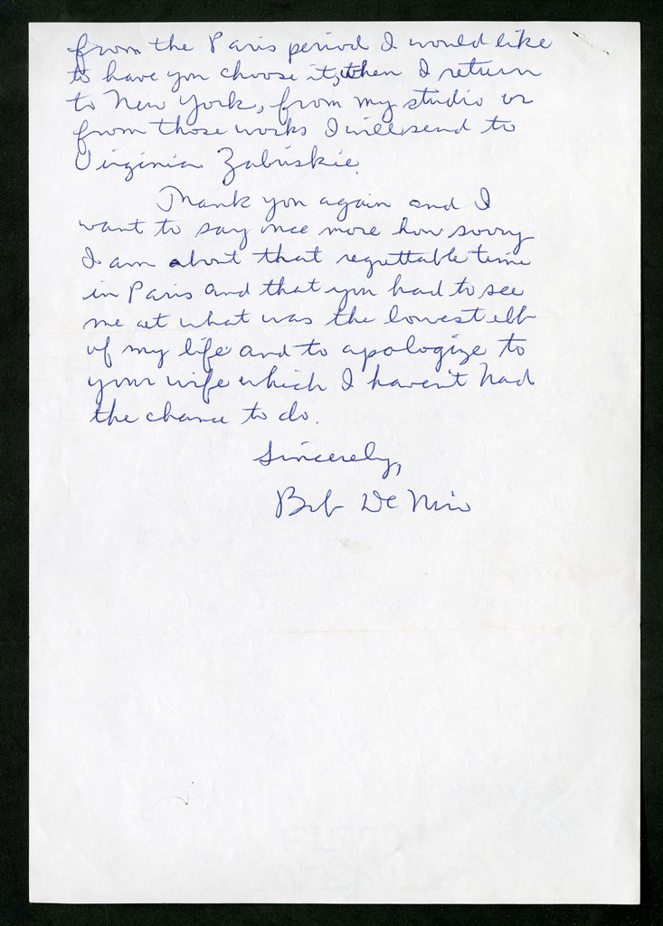 June 1, 1967, letter, De Niro to Hirshhorn.