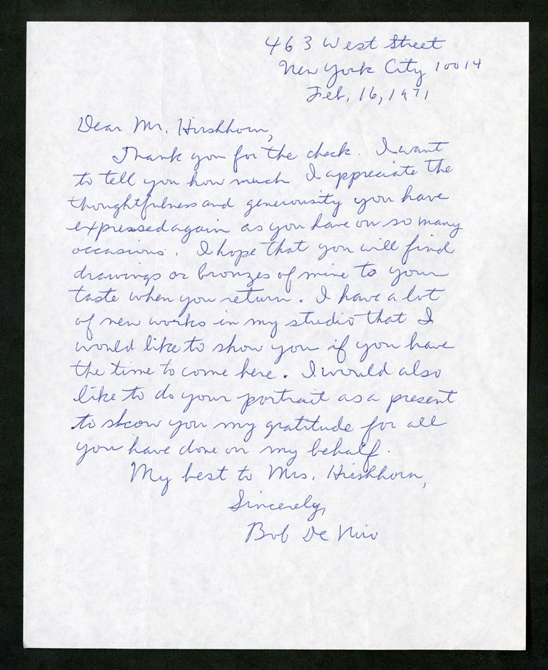 February 16, 1971, letter, De Niro to Hirshhorn.