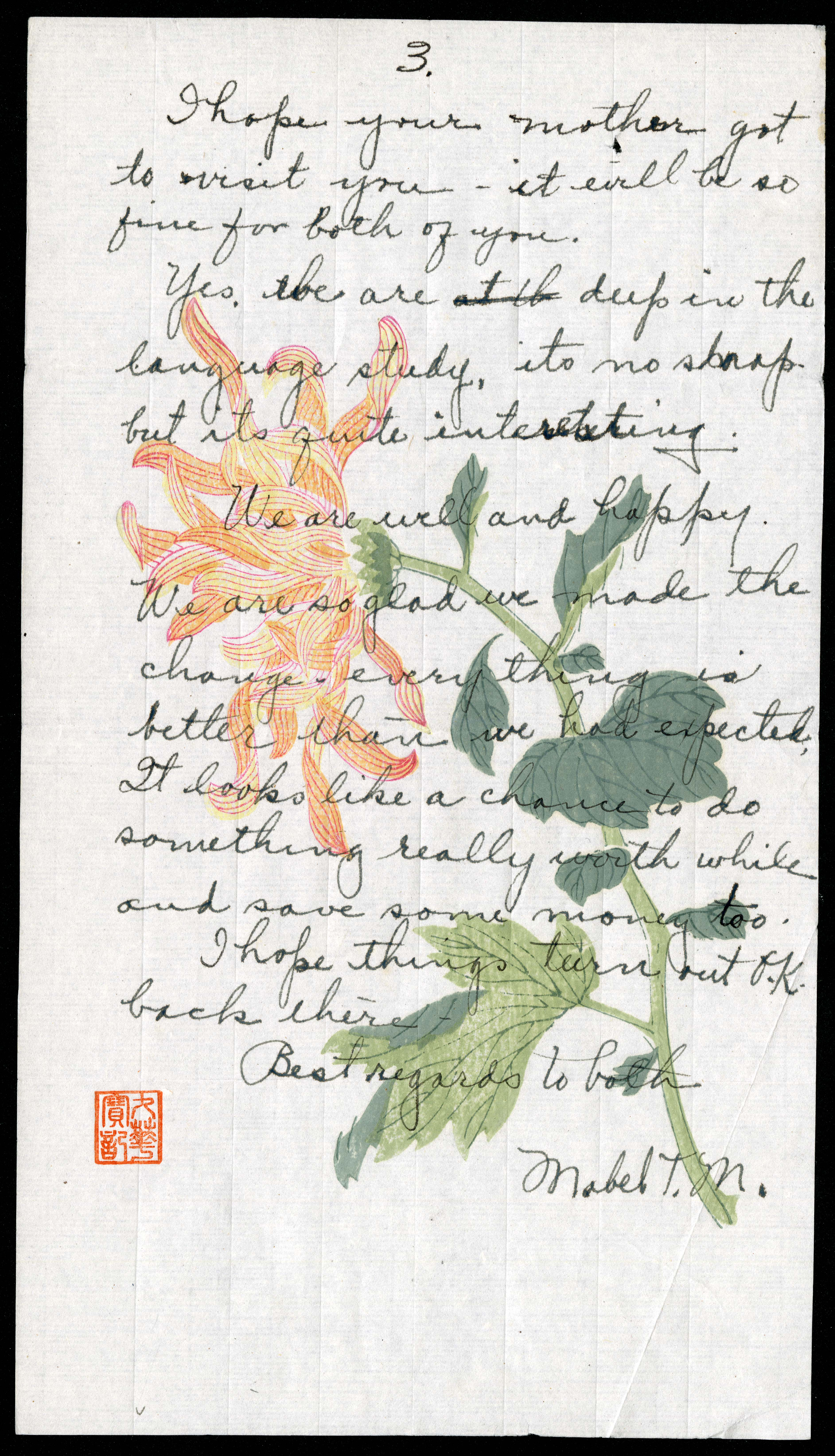 Letter from Mabel Truss Metcalf to Marguerite Henrich Kellogg, October 14, 1923, page 3.